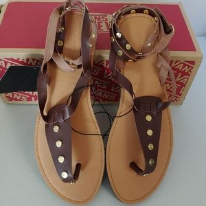 New Brown with gold studs strappy sandals